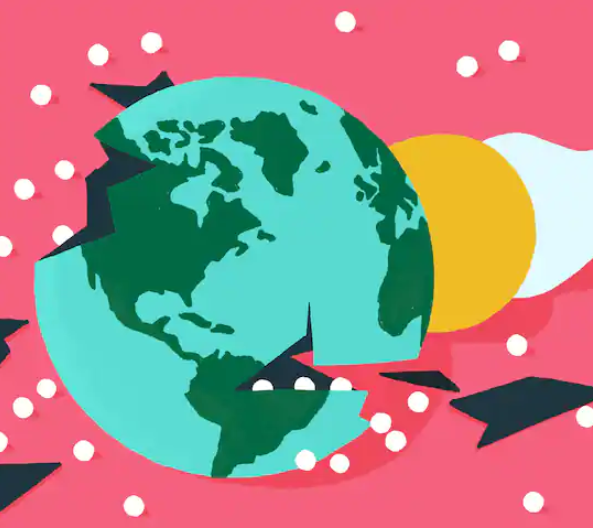 Drawing of the earth against a pink background