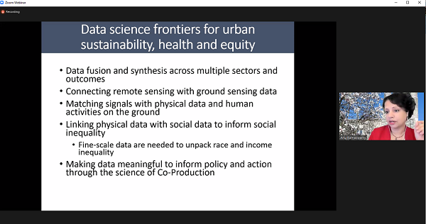 Screenshot of Ramaswami's presentation: frontiers in data science including remote sensing, making data meaningful to inform policy