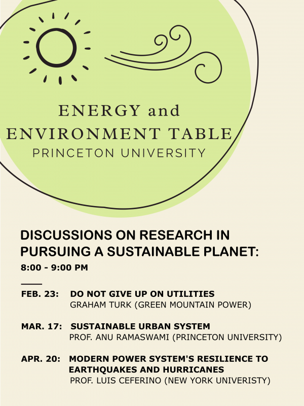 Energy Table Schedule: Prof Ramaswami at 8 pm, March 17