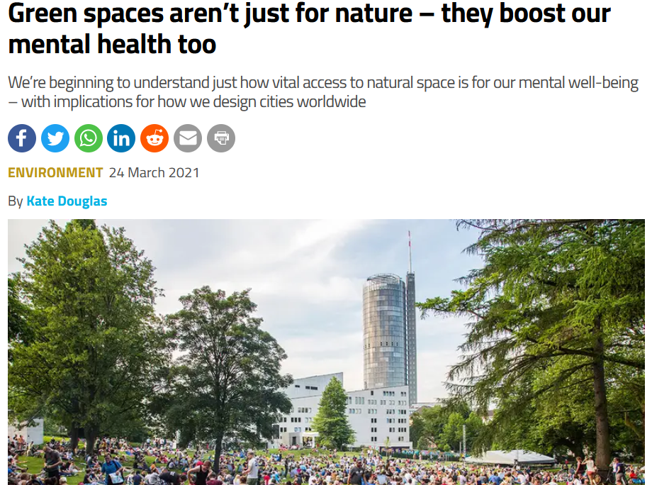 Screenshot of New Scientist article on green spaces
