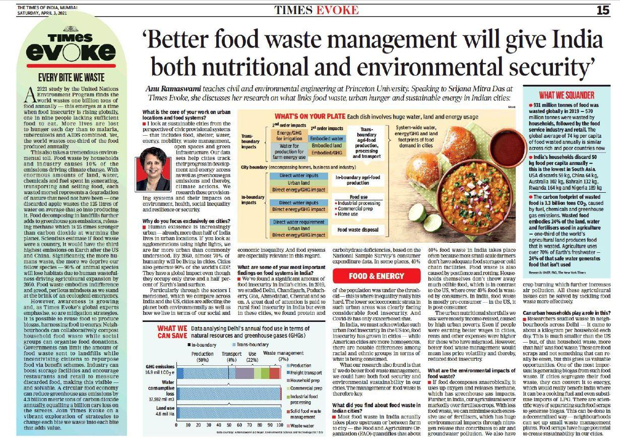 Times of India screenshot of food waste interview